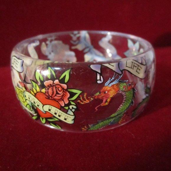 Unknown Jewelry - Vintage Acrylic Tattoo Art Bangle Bracelet